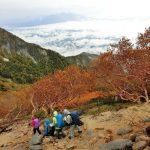 紅葉の尾根道を観音岳へ