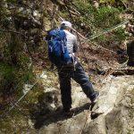 白竜滝へはロープで