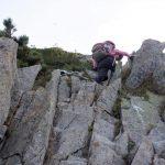 岩梯子のような登り
